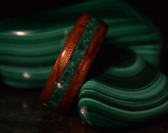 50 percent off until 12/1/2017 coupon code 50percent Hand Made ( Bentwood Method ) Bubinga Waterfall Inlayed Malachite Wooden Ring
