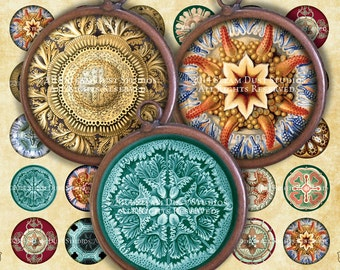 """Victorian Steampunk Natural History - Ernst Haeckel - Victorian Nature - 1"""" Circles - Digital Collage Sheet, Printables, Instant Download"""