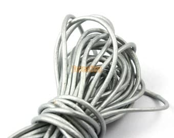 5 Yards 2mm Leather Cord Silver Leather Belt Round Leather Cord Genuine Leather Cord (YPS5)
