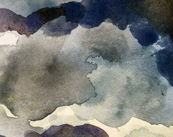 Abstract watercolors cloudy day