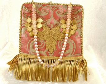 New handbag of 1920's French handmade applique and coil fringe on vintage pink and metallic gold Fortuny fabric  6134