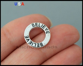 1 BELIEVE Linking Ring Charm - 14mm Silver Word Message Infinity Circle Link Connector - Charm Bracelet - Instant ship - USA - 6127