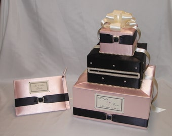 Blush Pink/ Black Elegant Custom made Wedding Card Box-matching Guest Book and Pen-any colors