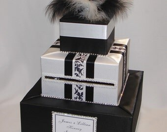 Black and White Wedding Card Box/Feathers-any color can be made