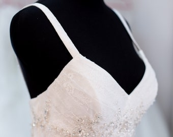 SAMPLE SALE - Lace Wedding Dress-  Ivory, Sweetheart Neckline, Fit and Flare, Beads, Sash, tulle, beaded Trumpet