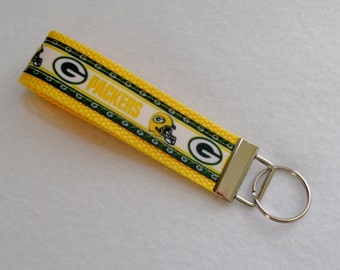 Key Fob/ Wristlet/ Keychain/Green Bay Packers print ribbon on Yellow/Ready to Ship