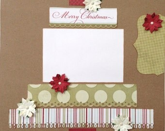 Merry Christmas Premade 1 Page 12x12 Scrapbook Layout