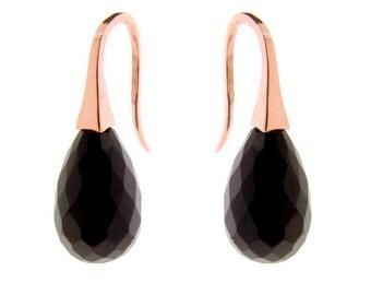Gold Onyx 'ShortDrop' earrings, gemstone drop earrings