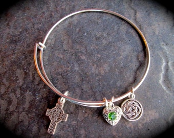 Irish Celtic Cross Adjustable wire bangle bracelet with Celtic Knot charms Irish Jewelry Religious Jewelry