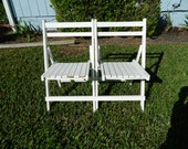 Vintage Folding Wood Chairs, 2 Seat Bench, White Folding Bench Chairs, Beach House Furniture