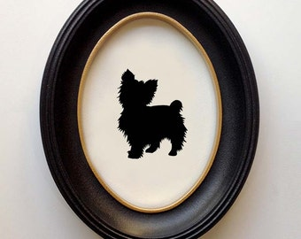 FRAMED Yorkie Silhouette - Hand-cut Original Dog Art Design:DOG-YOR01