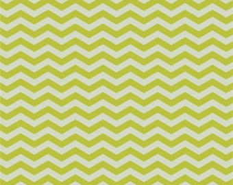 Olive Green and Cream Chevron Fabric - True Colors by Heather Bailey from Free Spirit - 1 Yard