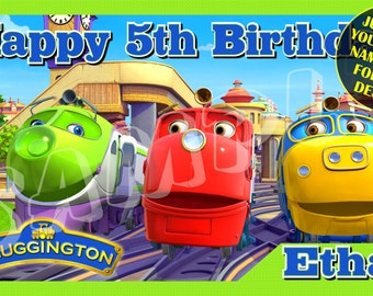 Chuggington Personalized Birthday Banner Green with free printable DIY Invitation - Just email child's name age photo for any design