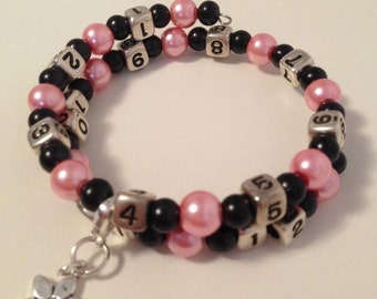READY TO SHIP-Nursing/Breastfeeding Bracelet Pink and Black #2