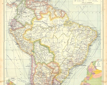 Vintage Map of South America,  1930s