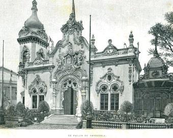 Venezuela Pavilion Antique Print, Paris Exposition Universelle 1889 Engraving,  Black and White
