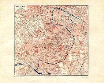1920s Milan Vintage City Map Milano Italy Street Plan