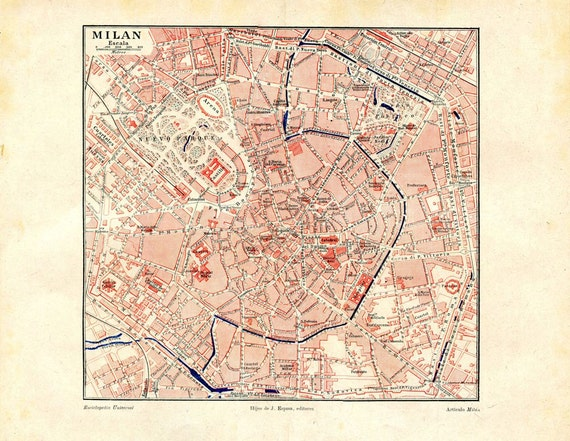 ann es 1920 milan vintage city map plan des rues de l 39 italie. Black Bedroom Furniture Sets. Home Design Ideas