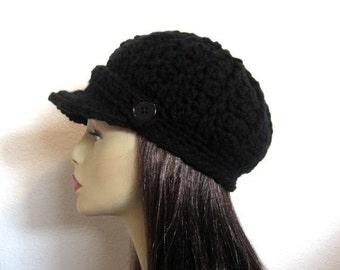 Crochet Newsboy Cap Black Cap with Visor Crochet News boy Hat Black Hat with Brim Lightweight Newsboy Black Newsboy Hat Cap with Buttons
