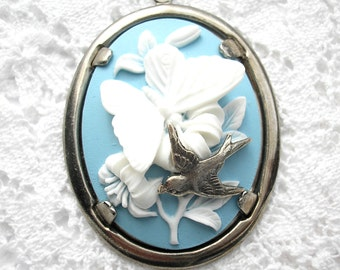 Antiqued Silver White on Blue Butterfly Cameo Pendant