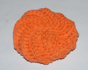 Orange Colored  Spiral Scrubbie Crochet dishcloth  All Cotton / Puffy Wash Cloth