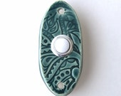 Small Oval Doorbell Tile Plate Cover with Standard Button - Paisley Design - Custom Color Choice - Modern Home Decor - MADE TO ORDER