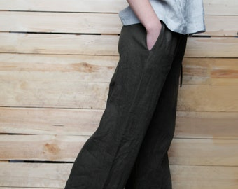Linen  Pants For Women/ Wide Linen Pants/ Flax Pants Drawstringed/ Linen Women's Trouser