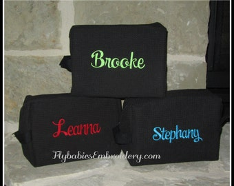 Set of 3 Personalized Cosmetic Bags ~ Monogrammed Toiletry Bags ~ Bridal Party Cosmetic Bags ~ Quick shipping