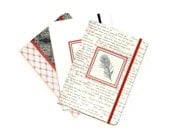 Soft Cover  Blank Journals Set of Three 5 x 7 Craft Supplies Black Red White