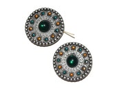 Tribal Jeweled Pendants Antiqued Silvertone Metal  Supplies Jewelry Supplies Set of 2