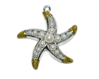 Pearl Starfish Pendants Antiqued Silvertone Rhinestone Embellished Jewelry Supplies