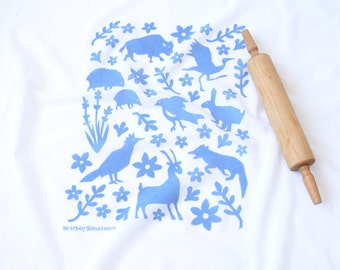 Flour Sack Dish Towel - Buffalo & Friends: Steel Blue or Red