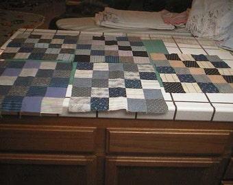 5 Large Vintage Handmade QUILT Blocks - Vintage Cotton Fabrics - Patchwork Quilt Squares / Blocks