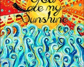 you are my sunshine, nursery art, nursery print, nursery poster, sun, ocean, modern, baby, shower gift, baby nursery, unisex, gender neutral