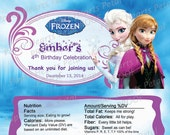 Personalized Frozen Candy Bar Wrappers,  Printed pack of 30 wrappers - Foil wrap included - Three Options Available