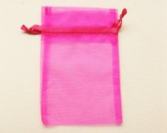 Set of 20 Hot Pink Organza Bags (4x6)