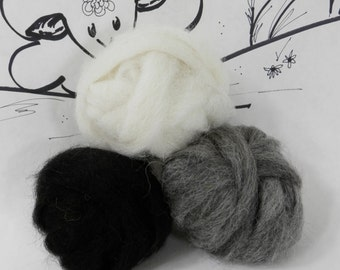 Wooly Buns Alpaca roving, needle felting or spinning, 1.5 ounces, felting supplies, black gray color assortment