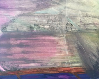 Abstract Watercolor Double Twister Town