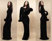 80s Vtg Black Starburst Maxi Dress GLiTTER Feather MARABOU Cuff  SUPERMODEL Length VAMPiRa-esque Glam Cocktail Hostess Gown / Large Tall