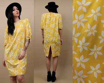 80s Vtg Emanuel UNGARO Genuine SiLK Canary Yellow Sheath Dress / Bow Sleeve + PiNWHEEL Print Floral Spring - Summer Design / Xs - Sm