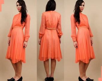 Clearance Sale 60s Vtg Silk EMMA DOMB Peach Chiffon Mini Dress / Sheer Poet Sleeve Beaded Cuff + Belt Flutter Skirt Cocktail As-is! Xs - Sm
