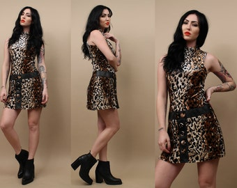 90s does 60s Vtg Fuzzy Velvet LEOPARD Scooter MOD Cat Print Micro Mini Dress / Shift Go-Go LEATHER Panel Button Jumper / Xs - Sm