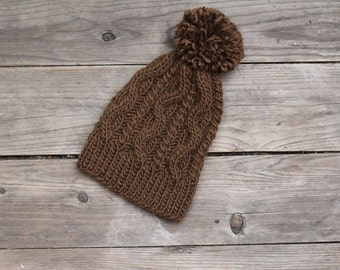Knit beanie hat womens pompom hat winter accessories hat chocolate brown knitted warm hat with pompom hat