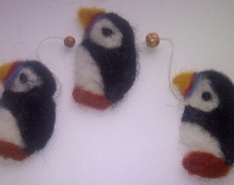 PUFFINS-Make your own needle felted puffin garland-complete kit