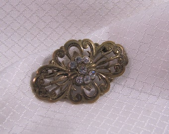 c1900 Victorian Brass Brooch, Signed PGP