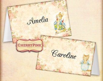 Peter Rabbit place cards, Printable party supplies, Beatrix Potter illustrations, perfect for your DIY summer party!