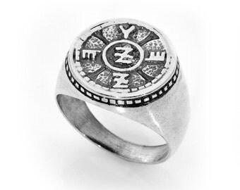 Spiritual Protection man ring Amulet,kabala,asiyadesign,silver,jewelry,gifts,spirituality,art,