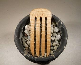 4 prong figured maple wood hair fork