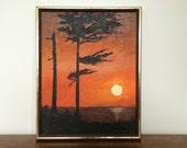 Vintage Original Painting - Orange Sunset Beach on Wood Panel Artwork