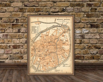 """Old map of Bruges - Bruges map  archival print - 16 x 21.5"""""""
